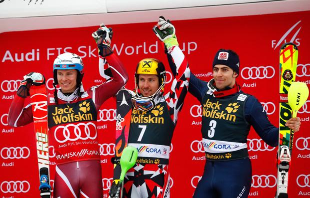 Archivio FISI: Marcel Hirscher gewann am Sonntag vor dem Norweger Henrik Kristoffersen und dem Italiener Stefano Gross. (Pentaphoto/Gabriele Facciotti)