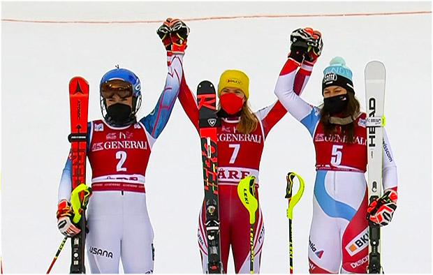 Katharina Liensberger feiert beim Slalom in Are ersten Weltcupsieg