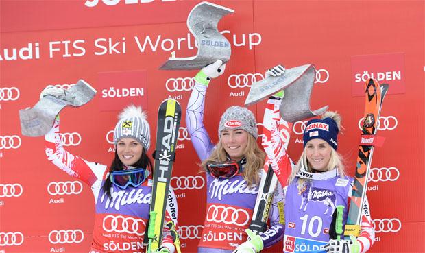 © Ch. Einecke (CEPIX) / Anna Veith und Eva-Maria Brem wollen Mikaela Shiffrin, wie in der Saison 2014/15, Paroli bieten.