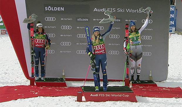 Das erste Ski Weltcup Rennen der Saison 2020/21 gewann die Italienerin Marta Bassino vor ihrer Mannschaftskollegin Federica Brignone und der slowakischen Athletin Petra Vlhová.