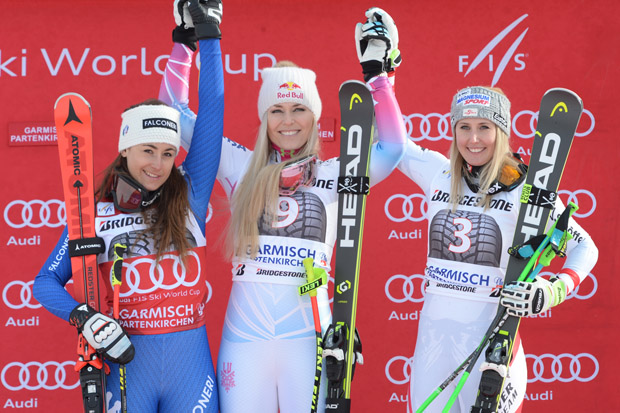 © Ch. Einecke (CEPIX) / Das Siegerinnenpodest bei der Sprintabfahrt am Samstag: Sofia Goggia, Lindsey Vonn und Cornelia Hütter