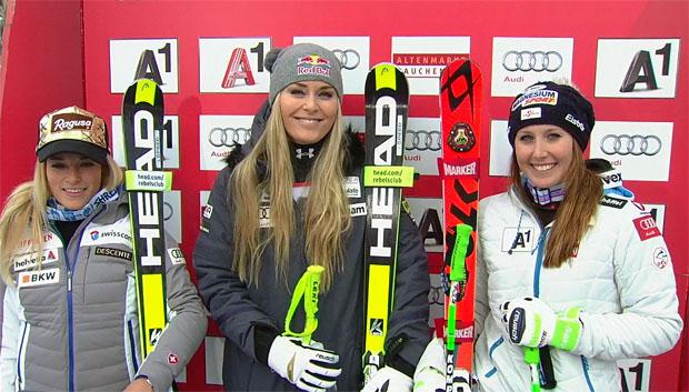 Super-G der Damen in Zauchensee 2015: Lara Gut, Lindsey Vonn und Cornelia Hütter