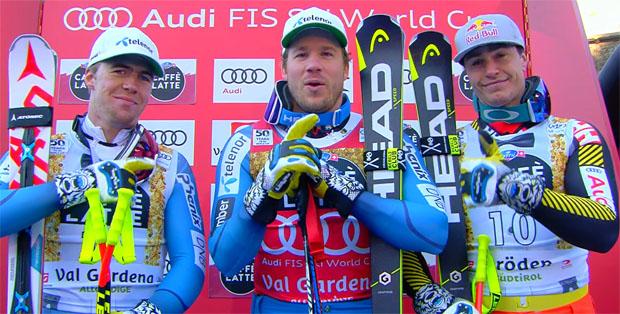 Aleksander Aamodt Kilde (NOR), Kjetil Jansrud (NOR) und Erik Guay (KAN)
