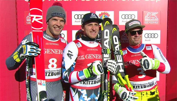 Die schnellsten Drei des Super-G: (v.l.) Christof Innerhofer (ITA), Matthias Mayrer (AUT) und Beat Feuz (SUI)