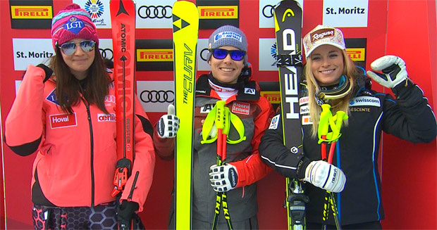"WM-Super-G der Damen: Tina Weirather, Nicole ""Nici"" Schmidhofer, Lara Gut"