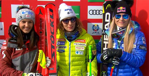 Stephanie Venier, Ilka Štuhec und Lindsey Vonn