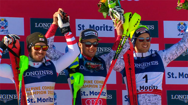 Luca Aerni gewann die Kombi vor Marcel Hirscher und Mauro Caviezel