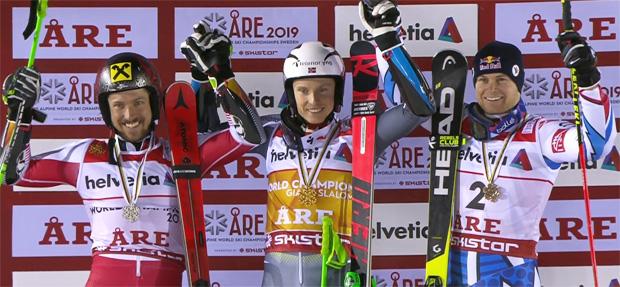 Marcel Hirscher mit Silber, Weltmeister Henrik Kristofferson und Alexis Pinturault.