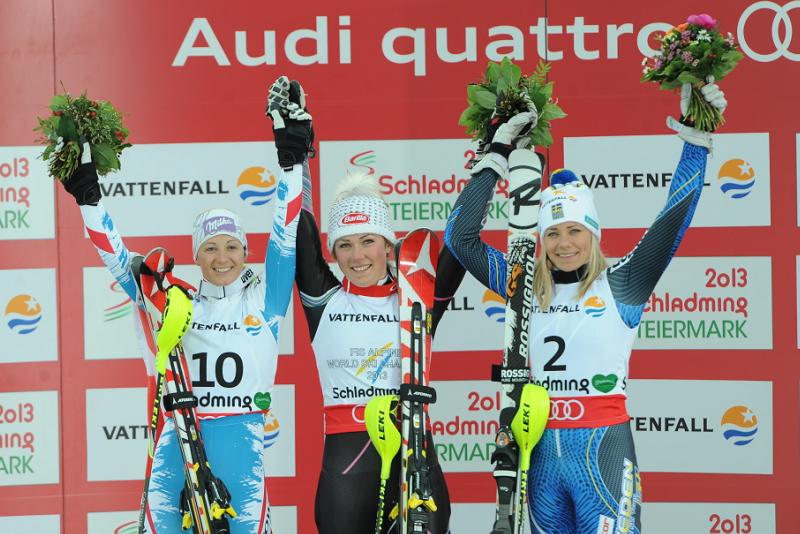 © Ch. Einecke (CEPIX) / Slalom WM 2013 Damen Podium