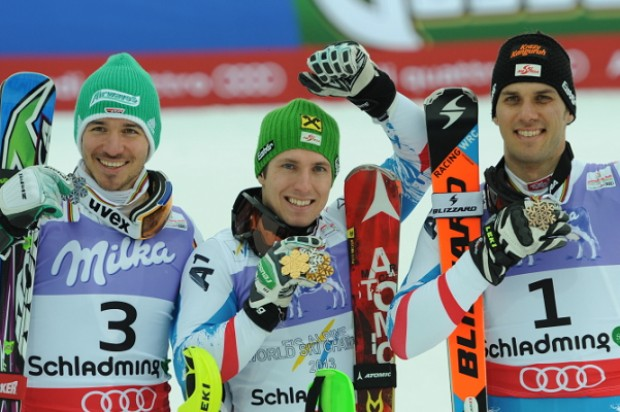 © Ch. Einecke (CEPIX) / Das Slalom-WM Podest 2013 - Neureuther, Hirscher, Matt
