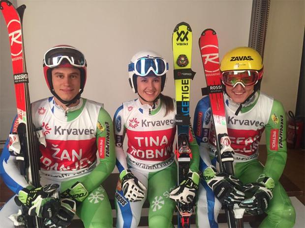 Žan Kranjec, Tina Robnik und Štefan Hadalin (Foto: SloSki.si / Facebook)