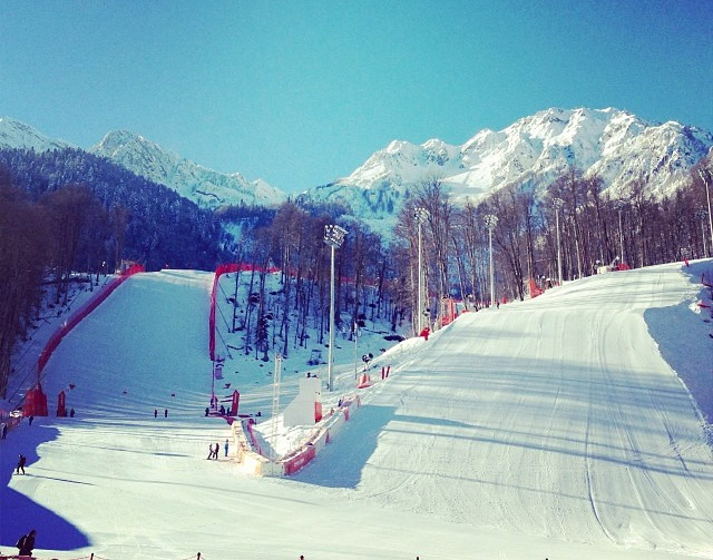 © ÖSV Ladies Skiteam Austria / Blick aus dem Zielraum auf die Olympiastrecken
