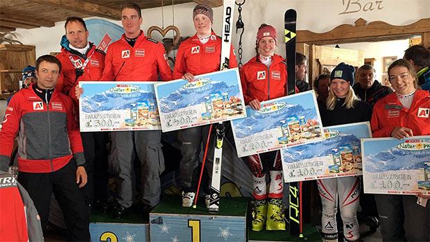 Die Salzburgerin Lisa Grill (Mitte) gewann die SPAR Wertung bei den Damen. (Foto: ÖSV)