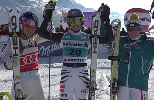 Maria Höfl-Riesch gewinnt Super Kombination in St. Moritz