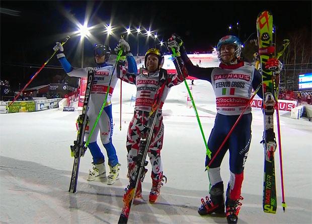 Marcel Hirscher setzt sich in Stockholm vor Andre Myhrer und Stefano Gross durch.