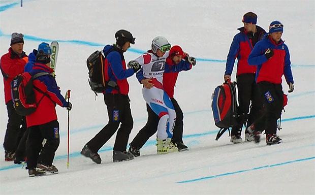 Corinne Suter - Sturz beim Super-G in Garmisch mit leichten Folgen