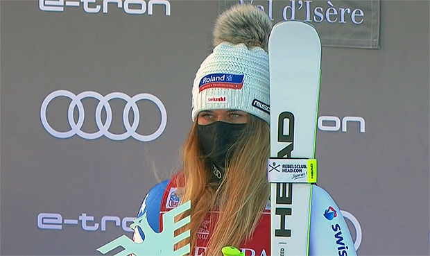 Corinne Suter stand in Val d'Isere dreimal auf dem Podest.