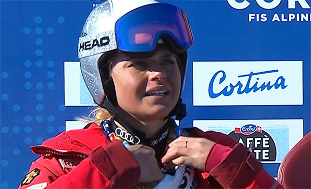 Corinne Suter krönt sich in Cortina d'Ampezzo zur Abfahrtsweltmeisterin 2021