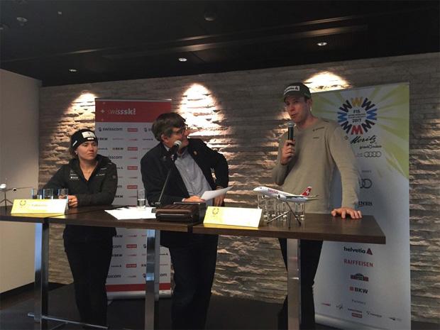 Fabienne Suter und Marc Gisin an der Medienkonferenz in der Swiss Arrival Lounge am Zürich Flughafen (Foto: Swiss-Ski.ch)