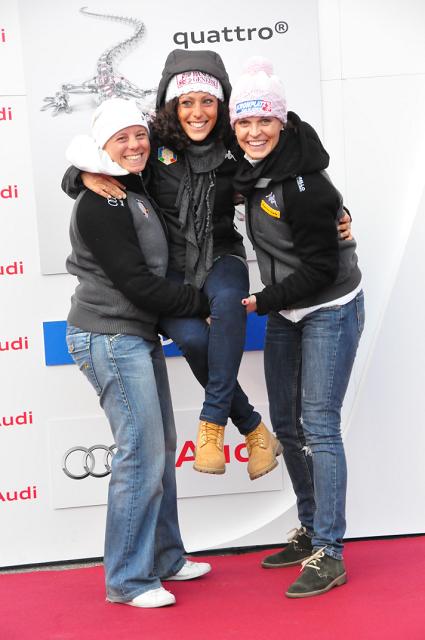 © Christian Einecke (CEPIX) / Denise Karbon, Federica Brignone und Manuela Mölgg hatten viel Spass bei der Audi Präsentation