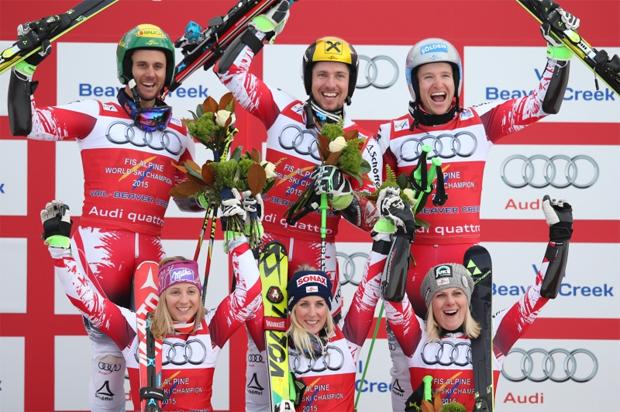 Fotocredit: GEPA/Fischer Sports / Gold für Österreich im Teambewerb