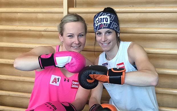 """Tamara Tippler und """"Miri"""" Puchner vor dem Boxtraining (© Mirjam Puchner / privat)"""
