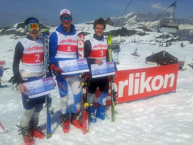 © swiss-ski.ch  /  Das Podest vom 01. April, Kategorie U18: v.l.n.r. Marco Odermatt, Alex Beguelin und Dario Walpen