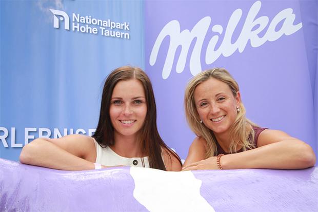 Skifahrerin Anna Veith und Ex-Skifahrerin Michi Kirchgasser (©Mondelez Österreich/APA-Fotoservice/Hautzinger)