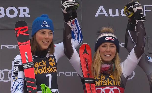 Mikaela Shiffrin und Petra Vhlova feiern zeitgleich Sieg beim Riesentorlauf in Maribor