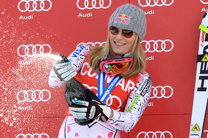 © Gerwig Löffelholz / So feierte Lindsey Vonn ihren Super G Sieg im letzten Jahr