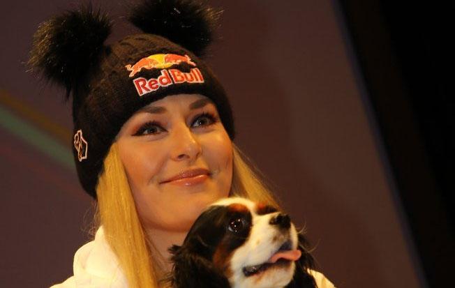 Lindsey Vonn bei der Pressekonferenz in Cortina d'Ampezzo (Foto: cortinaclassic.com)
