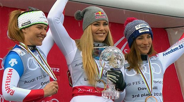 Fabienne Suter, Lindsey Vonn und Larisa Yurkiw