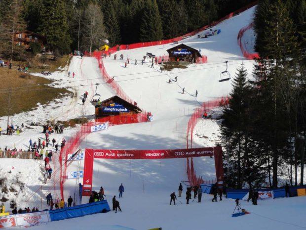 © Lauberhorn.ch / Schneemangel im untersten Teil des Slalomhanges