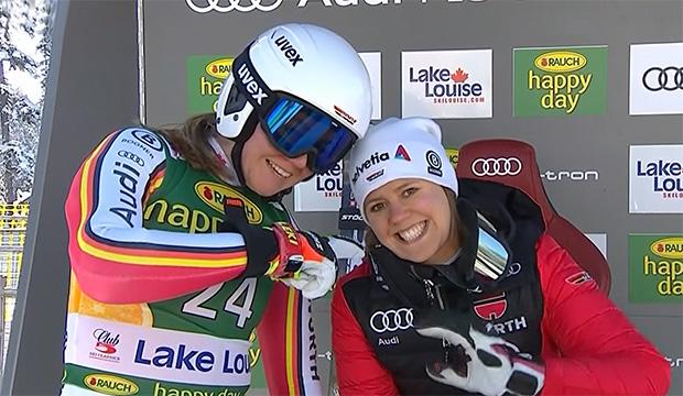 Michaela Wenig und Viktoria Rebensburg in Lake Louise