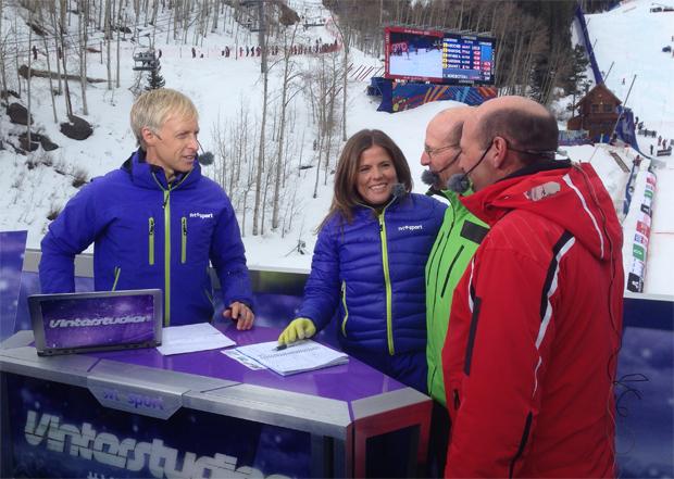 Ski-WM 2015 in Vail und Beaver Creek 2015. Pernilla Wiberg und SVT Kollege Andre Pops,im Gespräch mit Phil und Steve Mahre. (Foto: Pernilla Wiberg / privat)