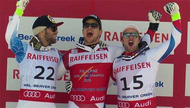 Podium Abfahrtsweltmeisterschaft 2015: Travis Ganong, Patrick Küng, Beat Feuz
