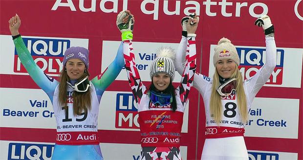 WM 2015 Super G Podest der Damen - Tina Maze, Anna Fenninger, Lindsey Vonn