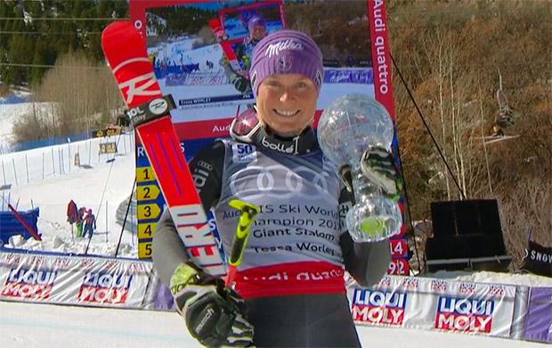 Riesentorlauf-Spezialistin Tessa Worley krönt ihre Saison mit Kugel
