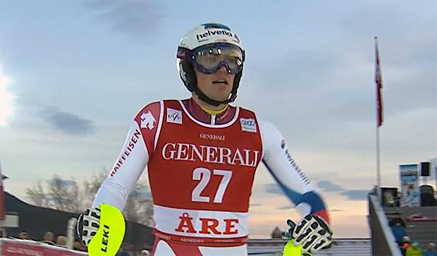 Daniel Yule bester Schweizer Slalomfahrer in Are