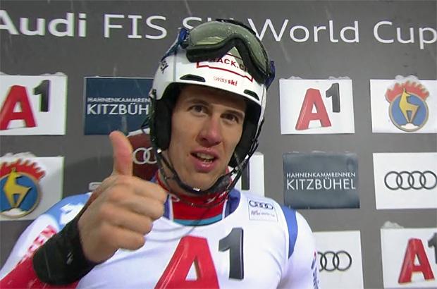 Ramon Zenhäusern greift beim Slalom in Kitzbühel nach der goldenen Gams