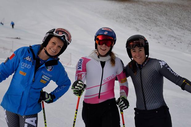 """Manuela Mölgg, Mikaela Shiffrin und Sofia Goggia haben bereits auf der """"Erta"""" trainiert."""