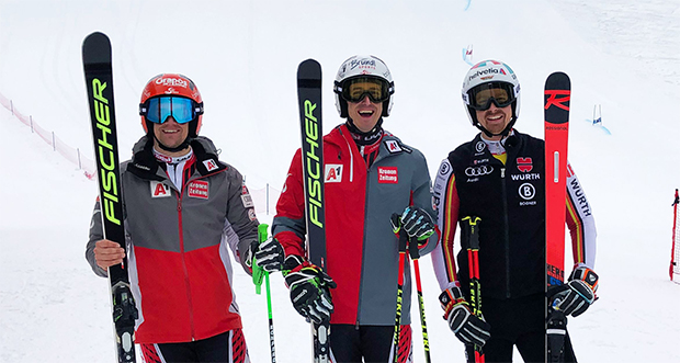 Roland Leitinger, Stefan Brennsteiner und Stefan Luitz beim Training in Saalbach (Foto: (©) Saalbach.com)