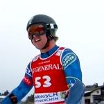 US-Boy Erik Arvidsson schwingt bei der 2. EC-Abfahrt auf dem Neveasattel als Erster ab