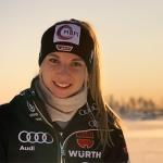 Jessica Hilzinger freut sich über ihren Erfolg im 2. Europacup-Torlauf von Zell am See
