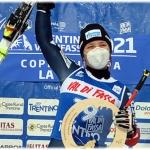 Julia Pleshkova  gewinnt 2. Europacup Super-G im Fassatal
