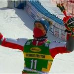 Stefan Brennsteiner freut sich über Platz 3 beim Riesentorlauf von Kranjska Gora