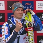 Jens Byggmark führt nach dem 1. Durchgang beim Slalom der Herren in Zagreb
