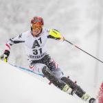 Manuel Feller aus Tirol hat beim EC-Riesentorlauf in Soldeu die Nase vorn