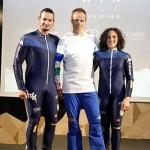 Dominik Paris und Federica Brignone präsentieren die neuen Rennanzüge