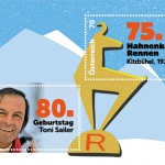 """Briefmarkenblock zum Doppeljubiläum """"75. Hahnenkammrennen/80. Geburtstag Toni Sailer"""""""